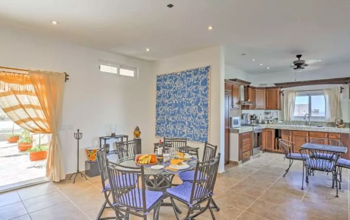Full Kitchen with 3 Dining Areas for Apartment A at Casa Oasid Todos Santos Vacation Rental