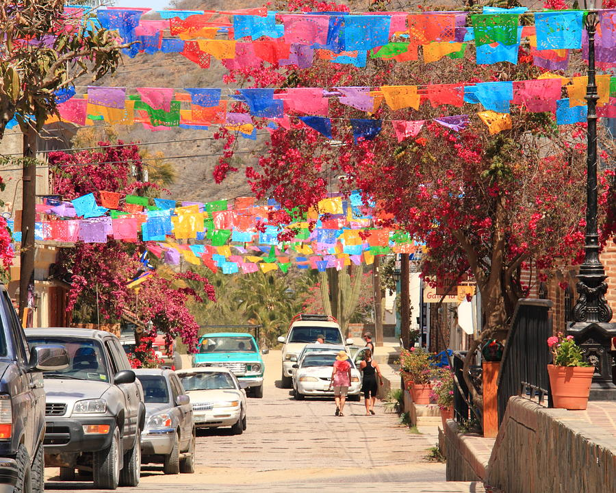 Festive Side Street in El Centro a leisure 25-minute stroll from Casa Oasis Todos Santos Vacation Rental