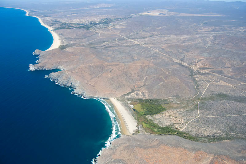 Rugged Shoreline from La Palma Beach to the Old Port and Punta Lobos with Casa Oasis Todos Santos Vacation Rental on the upper left