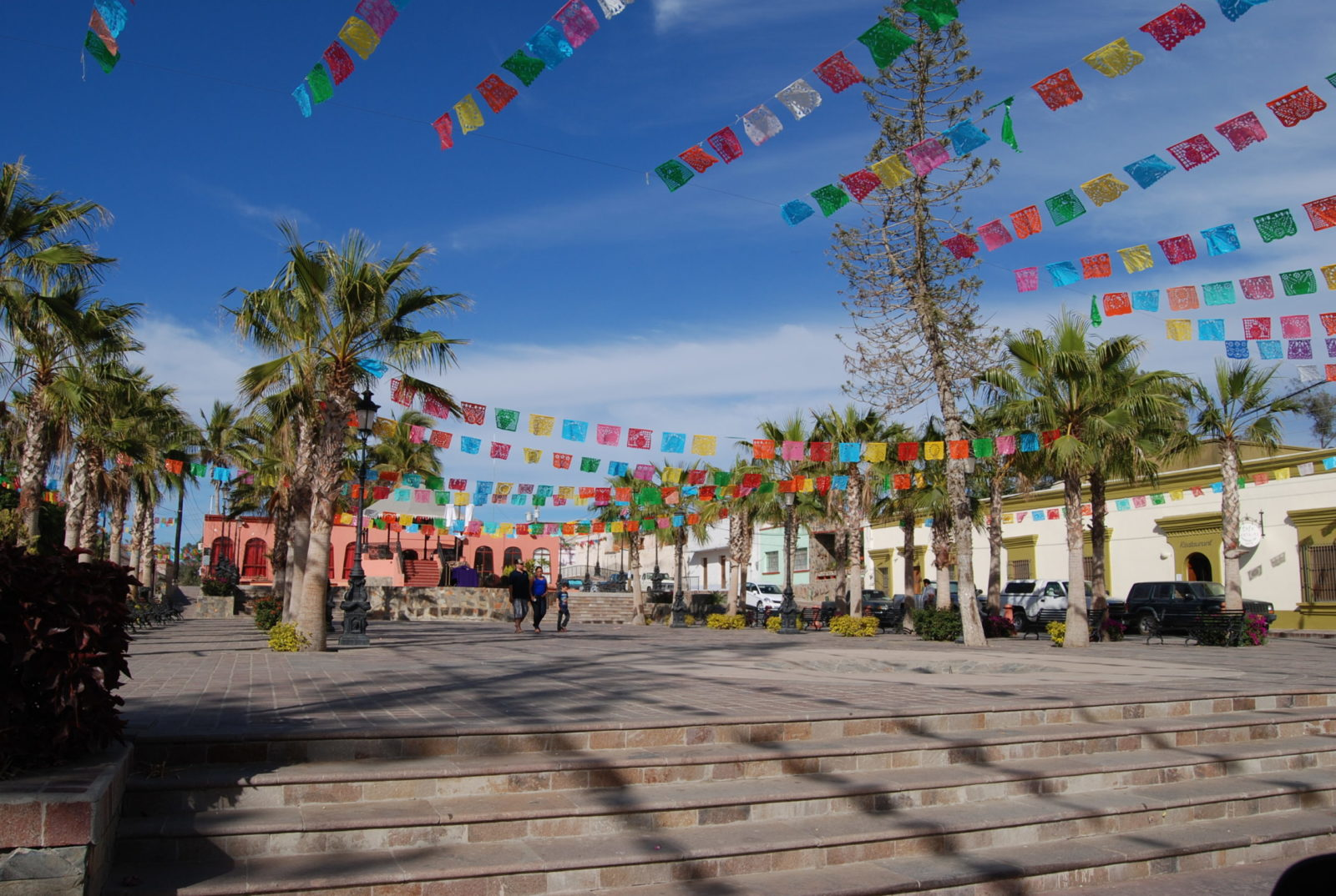 Festive Town Plaza in El Centro a leisure 25 minute stroll from Casa Oasis Todos Santos Vacation Rentals